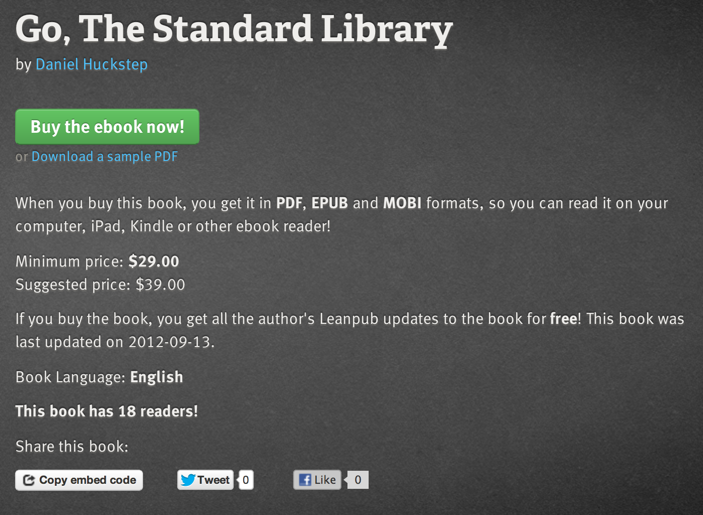 Screenshot of the Leanpub interface
